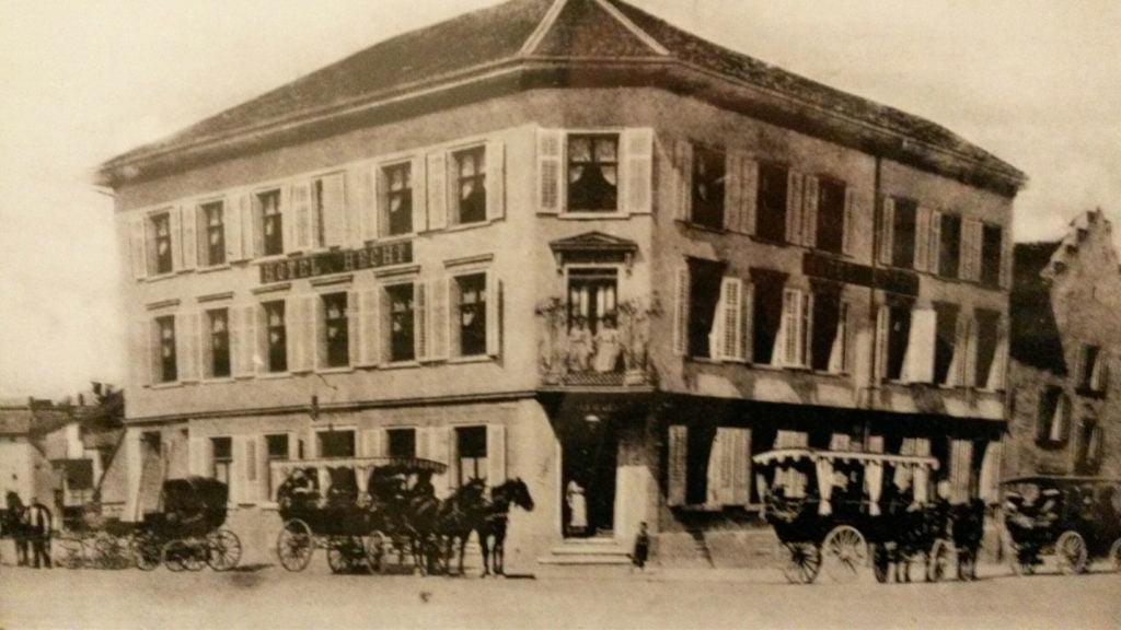 Hotel Hecht im Jahre 1980 nach dem Brand