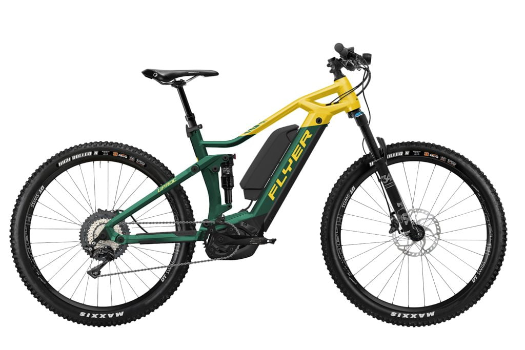 Uproc3 von FLYER (E-Bike | Mountain), Opalgreen-Sunflower, Dual-Battery